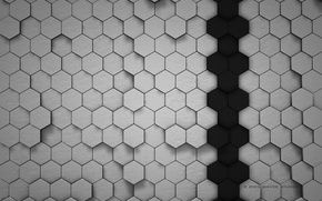 Обои Черный, Абстракции, Соты, Серый