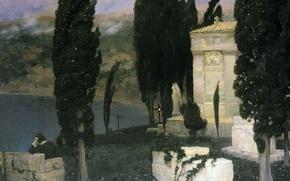 Картинка масло, ангел, статуя, Холст, Аполлинарий ВАСНЕЦОВ, (1856-1933), Элегия