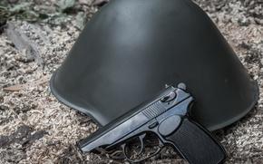 Картинка оружие, Макарова, German Makarov, шлем, самозарядный, пистолет