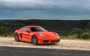 Картинка Красный, Porsche, Cayman, Автомобиль, 2017, Металлик, 718, S