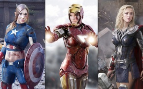 Картинка girls, beautiful, beauty, women, Amber Heard, captain america, thor, models, iron man, superhero, actress, avengers, …