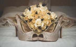 Картинка цветы, букет, туфли, свадьба
