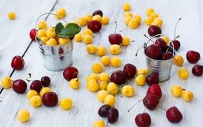 Картинка вишня, ягоды, желтые, красные, черешня, Julia Khusainova, ведерки