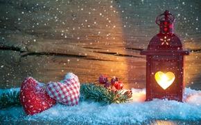 Картинка снег, украшения, ветка, Рождество, фонарь, сердечки, Новый год
