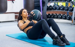Обои workout, brunette, abs, ball