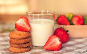 Картинка фон, widescreen, обои, еда, завтрак, молоко, печенье, клубника, ягода, wallpaper, широкоформатные, background, сладкое, полноэкранные, HD ...