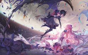 Картинка небо, облака, цветы, город, девушки, высота, крылья, аниме, арт, dark precure, precure, heartcatch precure!, alphonse, …