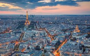 Картинка закат, Франция, Париж, вечер, панорама, Paris, France