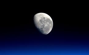 Обои Луна, спутник, NASA, космос, foto, Moon, тьма, снимок