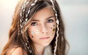 Картинка звёзды, девочка, brown hair, brown eyes, кареглазая, child photography, Like a star in the sky