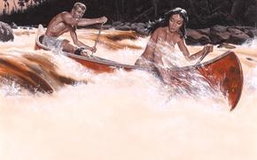 Картинка природа, река, женщина, мужчина, пирога, Морт Künstler