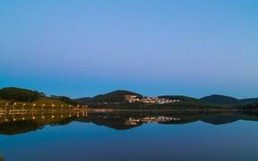 Картинка природа, озеро, вечер, зеркало