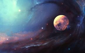 Картинка космос, звезды, синий, туман, вселенная, пыль, даль, тела, рядом, находятся, ненаселенная