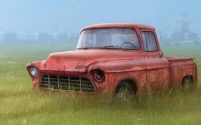 Обои грузовик, рисунок, трава, сломан