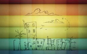 Картинка обои, дома, радуга