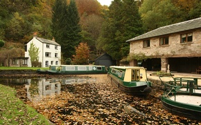 Обои Река, Лодки, Осень