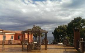 Картинка море, облака, Деревья, курорт, Испания