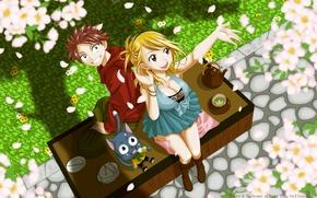 Картинка девушка, весна, чаепитие, парень, happy, цветение, fairy tail, lucy heartfilia, natsu dragneel