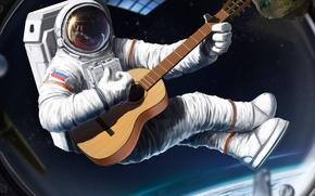 Картинка космос, корабль, гитара, космонавт, скафандр, арт, иллюминатор, шлем