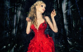 Картинка Dark, Snake, Blonde, Forest, Red Dress