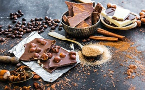 Картинка кофе, еда, шоколад, сахар, корица, сладкое, зерна кофе, пряности, анис, Natalia Klenova