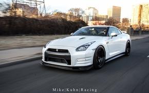 Картинка nissan, turbo, white, road, japan, jdm, gtr, speed, racing, highway, r35, nismo