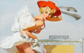 Картинка девушка, ретро, ветер, рисунок, юбка, шляпка, Pin-up