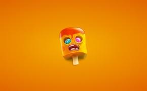 Картинка глаза, оранжевый, минимализм, зубы, рот, зомби, мороженое, zombie, палочка, ice cream