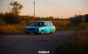 Картинка зелень, асфальт, столбы, завод, blue, голубая, 2104, советская машина, bodybeat
