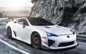 Обои car, wallpapers, white, tuning, lexus lfa, nürburgring, performance