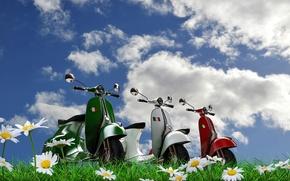 Картинка небо, природа, транспорт, мотоцикл