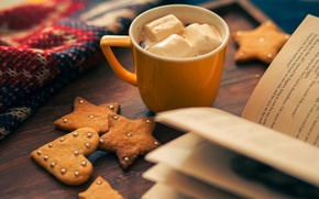 Картинка зима, праздник, сердце, звезда, еда, печенье, чашка, книга, star, heart, winter, cup, какао, book, holiday, ...