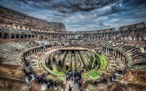 Обои Колизей, Италия, hdr, люди, руины, туристы, экскурсия, Рим