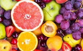 Обои ягоды, апельсины, виноград, фрукты, fresh, грейпфрут, fruits, berries