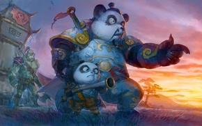 Картинка арт, ружьё, World of Warcraft, орк, Пандарены, сын и отец