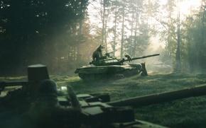 Картинка природа, оружие, рисунок, утро, Лес, медведи, арт, танк, Россия, рендер, сосновый бор