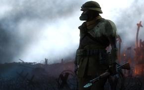 Картинка война, солдат, нож, автомат, разрушение, противогаз
