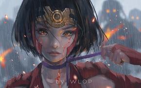Картинка девушка, дождь, аниме, слезы, арт, лента, wlop, koutetsujou no kabaneri, mumei