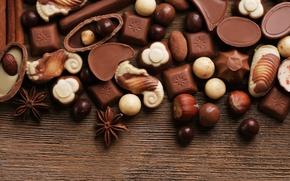 Картинка шоколад, конфеты, сладости, орехи, десерт, бадьян, анис