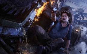 Картинка авария, небо, пальма, пистолет, оружие, огонь, дома, Sony, Nathan Drake, Naughty Dog, Нейтан Дрейк, Нейт, …