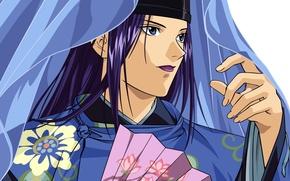 Картинка лицо, шапка, покрывало, веер, парень, hikaru no go, fujiwara no sai, by takeshi obata