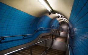 Обои тунель, лампы, ступени, перила