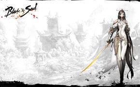 Обои оружие, game, хвосты, ncsoft, душа, blade & soul, девушка, меч, лезвие, Blade and Soul, mmorpg