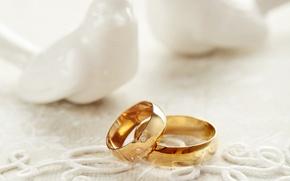 Картинка праздник, голуби, кружево, свадьба, holiday, wedding, свадебные кольца, lace, wedding ring doves