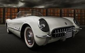 Картинка ретро, Corvette, Chevrolet, Шевроле, классика, 1954, передок, Корвет
