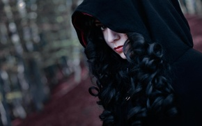 Картинка взгляд, девушка, капюшон, чародейка, косплей, The Witcher 3, Yennefer