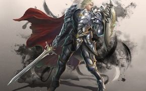 Картинка взгляд, поза, оружие, фантастика, меч, доспехи, воин, арт, броня, щит