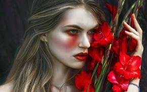 Картинка девушка, фантазия, арт, Magda, Agnieszka Lorek, Tears and gladiolus