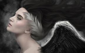 Обои ангел, слеза, перья, печаль