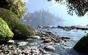 Картинка арт, остров, природа, деревья, мох, море, озеро, вода, камни